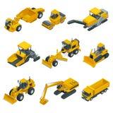 Μεγάλο isometric σύνολο εξοπλισμού κατασκευής Forklifts, γερανοί, εκσκαφείς, τρακτέρ, εκσακαφείς, φορτηγά ελεύθερη απεικόνιση δικαιώματος