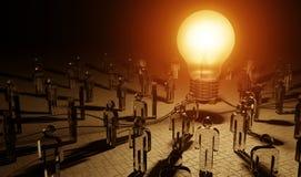 Μεγάλο lightbulb που φωτίζει μια τρισδιάστατη απόδοση ομάδων ανθρώπων απεικόνιση αποθεμάτων