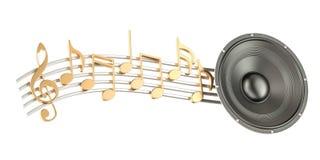 Μεγάφωνο με τις σημειώσεις μουσικής, μουσική έννοια τρισδιάστατη απόδοση απεικόνιση αποθεμάτων