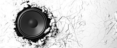 Μεγάφωνο σε ένα άσπρο υπόβαθρο τοίχων τρισδιάστατη απεικόνιση Στοκ εικόνες με δικαίωμα ελεύθερης χρήσης