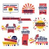 Μεγάλα ανοίγοντας διανυσματικά εικονίδια γεγονότος που τίθενται για το κατάστημα ή το φεστιβάλ Στοκ Φωτογραφία