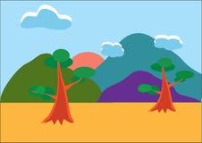 μεγάλα βουνά βουνών τοπίων διανυσματική απεικόνιση
