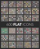 Μεγάλα εικονίδια καθορισμένα, διανυσματικό εικονόγραμμα 600 του επιπέδου Στοκ εικόνες με δικαίωμα ελεύθερης χρήσης
