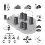 Μεγάλα εικονίδια στοιχείων καθορισμένα, υπολογισμός σύννεφων Στοκ εικόνα με δικαίωμα ελεύθερης χρήσης