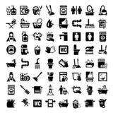 Μεγάλα καθαρίζοντας εικονίδια καθορισμένα Στοκ εικόνες με δικαίωμα ελεύθερης χρήσης