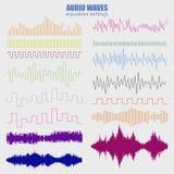 Μεγάλα καθορισμένα υγιή κύματα χρώματος Ακουστική τεχνολογία εξισωτών, σφυγμός μουσικός επίσης corel σύρετε το διάνυσμα απεικόνισ απεικόνιση αποθεμάτων