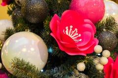 Μεγάλα ρόδινα λουλούδια και άσπρες σφαίρες σε ένα χριστουγεννιάτικο δέντρο, υπόστρωμα για τις διακοπές στοκ εικόνες με δικαίωμα ελεύθερης χρήσης