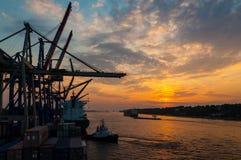 Μεγάλα σκάφη εμπορευματοκιβωτίων στο εμπορευματοκιβώτιο τελικό Buchardkai στο Αμβούργο στο σούρουπο Στοκ Φωτογραφίες