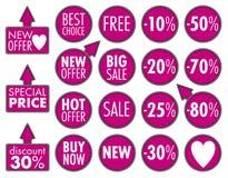 Μεγάλες αυτοκόλλητες ετικέττες πώλησης Στοκ εικόνες με δικαίωμα ελεύθερης χρήσης