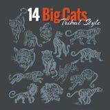 Μεγάλες γάτες στο φυλετικό ύφος πολικό καθορισμένο διάνυσμα καρδιών κινούμενων σχεδίων διανυσματική απεικόνιση