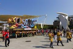 Μεγάλες διακοσμήσεις κινούμενων σχεδίων στην ιαπωνική παραδοσιακή παρέλαση σε EXPO 2015 Στοκ Φωτογραφίες