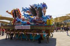 Μεγάλες διακοσμήσεις κινούμενων σχεδίων στην ιαπωνική παραδοσιακή παρέλαση σε EXPO 2015 Στοκ φωτογραφία με δικαίωμα ελεύθερης χρήσης