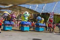 Μεγάλες διακοσμήσεις κινούμενων σχεδίων στην ιαπωνική παραδοσιακή παρέλαση σε EXPO 2015 Στοκ εικόνες με δικαίωμα ελεύθερης χρήσης