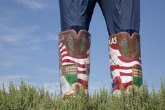 Μεγάλες μπότες Tex στην κρατική έκθεση του Τέξας Στοκ Εικόνα