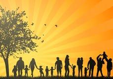Μεγάλες οικογενειακές σκιαγραφίες Στοκ Εικόνες