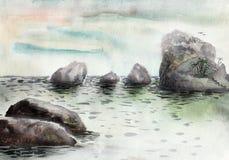 Μεγάλες πέτρες στη θάλασσα Στοκ Φωτογραφία