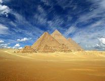 Μεγάλες πυραμίδες στην Αίγυπτο Στοκ Φωτογραφία