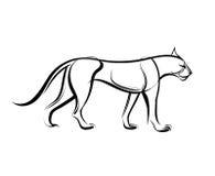 Μεγάλη άγρια γάτα Διανυσματική απεικόνιση γραμμών τσιτάχ Στοκ Εικόνα