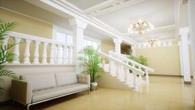 Μεγάλη άσπρη μαρμάρινη σκάλα πολυτέλειας του θεάτρου Αίθουσα του παλατιού τρισδιάστατη απόδοση Στοκ Εικόνες