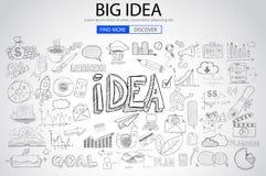 Μεγάλη έννοια ιδέας με το ύφος σχεδίου Doodle Στοκ εικόνες με δικαίωμα ελεύθερης χρήσης