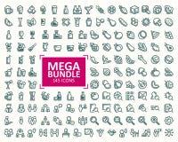 Μεγάλη δέσμη, σύνολο διανυσματικών εικονιδίων λεπτών γραμμών απεικονίσεων 32x32 εικονοκύτταρο τέλειο Στοκ Εικόνες