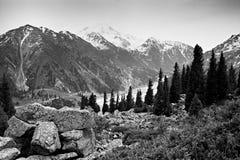 Μεγάλη λίμνη του Αλμάτι, βουνά της Τιέν Σαν στο Αλμάτι, Καζακστάν, Ασία στοκ εικόνα
