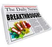 Μεγάλη ανακάλυψη ανακοίνωσης τίτλων σημαντικών εφημερίδων απεικόνιση αποθεμάτων