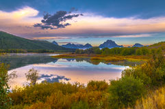 Μεγάλη αντανάκλαση Teton στην ανατολή Στοκ Φωτογραφία