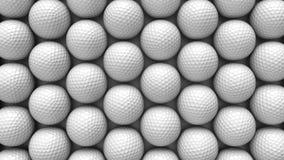 Μεγάλη από επάνω προς τα κάτω σειρά άσπρων σφαιρών γκολφ Στοκ φωτογραφίες με δικαίωμα ελεύθερης χρήσης