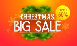 Μεγάλη αφίσα, έμβλημα ή ιπτάμενο πώλησης για τα Χριστούγεννα Στοκ Εικόνες