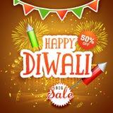 Μεγάλη αφίσα, έμβλημα ή ιπτάμενο πώλησης για Diwali Στοκ Εικόνες
