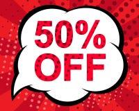 Μεγάλη αφίσα χειμερινής πώλησης με 50 ΤΟΙΣ ΕΚΑΤΟ ΑΠΟ το κείμενο Διαφημιστικό διανυσματικό έμβλημα Στοκ εικόνα με δικαίωμα ελεύθερης χρήσης