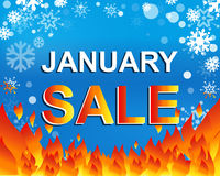 Μεγάλη αφίσα χειμερινής πώλησης με το κείμενο ΠΩΛΗΣΗΣ ΙΑΝΟΥΑΡΙΟΥ Διαφημιστικό διανυσματικό έμβλημα Στοκ Φωτογραφίες