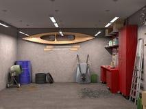 Μεγάλη εσωτερική, τρισδιάστατη απεικόνιση γκαράζ Στοκ εικόνα με δικαίωμα ελεύθερης χρήσης