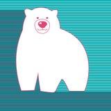 Μεγάλη λευκιά πολική αρκούδα σε ένα μπλε υπόβαθρο Στοκ Εικόνες