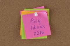 Μεγάλη ιδέα 2016 σημειώσεων υπενθυμίσεων Στοκ φωτογραφία με δικαίωμα ελεύθερης χρήσης
