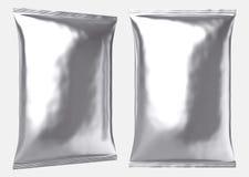 Μεγάλη κενή ασημένια πλαστική τσάντα φύλλων αλουμινίου διανυσματική απεικόνιση