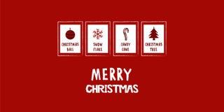 Μεγάλη κόκκινη κάρτα Χριστουγέννων Στοκ Εικόνες