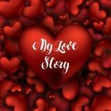 Μεγάλη κόκκινη καρδιά με την επιγραφή η εγγραφή του Love Story μου Στοκ φωτογραφίες με δικαίωμα ελεύθερης χρήσης