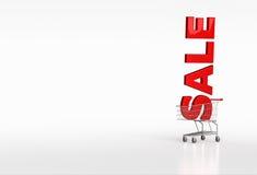 Μεγάλη κόκκινη πώληση λέξης στο κάρρο αγορών στο άσπρο υπόβαθρο Θέση FO Στοκ φωτογραφία με δικαίωμα ελεύθερης χρήσης