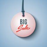 Μεγάλη μαύρη ετικέττα πώλησης, στρογγυλό έμβλημα, διαφήμιση Στοκ Εικόνες