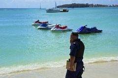 Μεγάλη παραλία κόλπων στο ST Maarten, καραϊβικός Στοκ εικόνα με δικαίωμα ελεύθερης χρήσης
