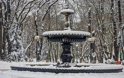 Μεγάλη, παλαιά, μαύρη, χιονισμένη πηγή στο πάρκο πόλεων Στοκ Εικόνες