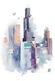 Μεγάλη πόλη εικονικής παράστασης πόλης σχεδίων Watercolor κεντρικός, ζωγραφική ακουαρελών ελεύθερη απεικόνιση δικαιώματος