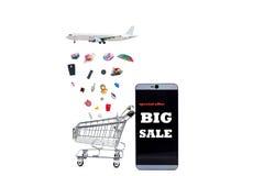 Μεγάλη πώληση κειμένων στο smartphone με το κάρρο αγορών, σε απευθείας σύνδεση πληρωμή α Στοκ Εικόνα