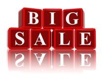 Μεγάλη πώληση στους τρισδιάστατους κόκκινους κύβους Στοκ Εικόνες