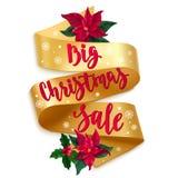 Μεγάλη πώληση Χριστουγέννων Κάρτα διακοπών με την καλλιγραφία, τη χρυσή κορδέλλα, τον ελαιόπρινο, τις εγκαταστάσεις αστεριών Χρισ απεικόνιση αποθεμάτων
