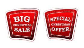 Μεγάλη πώληση Χριστουγέννων και ειδική προσφορά Χριστουγέννων στο αναδρομικό κόκκινο bann Στοκ εικόνα με δικαίωμα ελεύθερης χρήσης