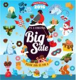 Μεγάλη πώληση Χριστουγέννων με τα εικονίδια Στοκ Εικόνες