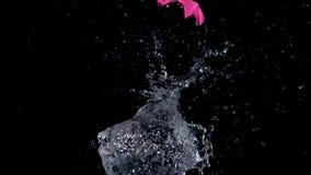 Μεγάλη ρόδινη ανατίναξη μπαλονιών νερού απόθεμα βίντεο